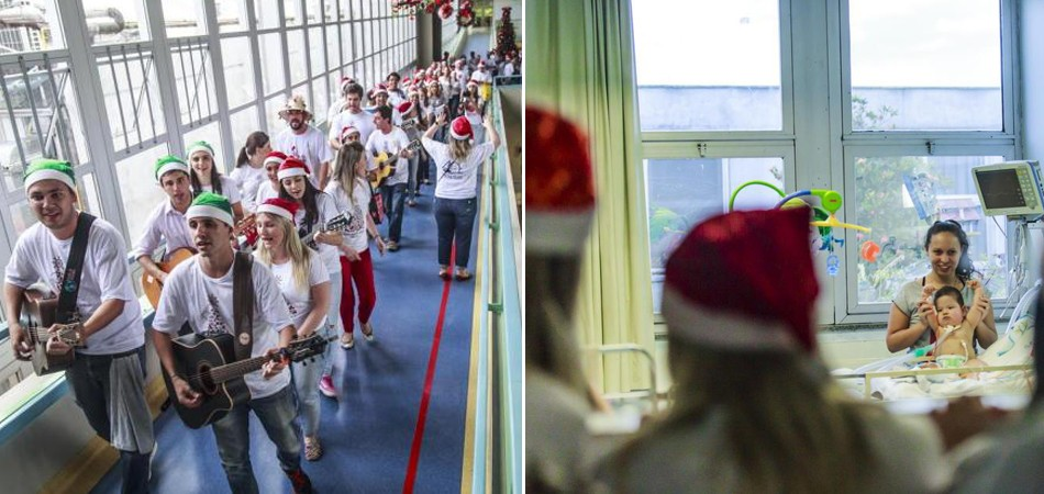 Jovens fazem serenatas de Natal e emocionam pacientes de hospitais e asilos de SC 1
