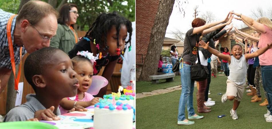 crianças ganham festas de aniversário