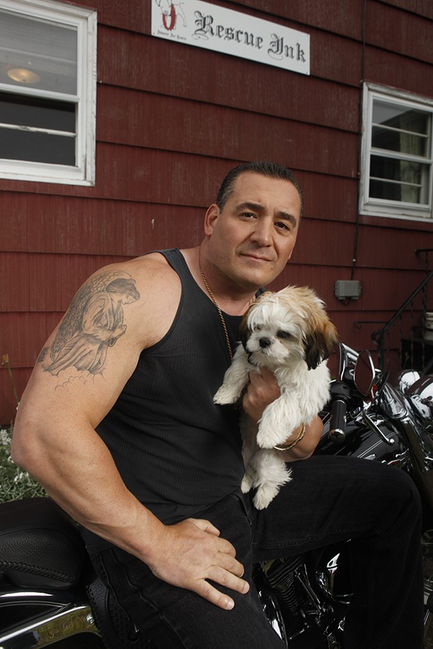 Joe a Rescue Ink member and his dog/s. (Photo Credit: © National Geographic Channel / Shea Roggio) Rescue Ink, a group of eight tough guys covered in tattoos, is coming to the rescue of New York's animals - they save animals from desperate situations, rescue fighting dogs, confront animal abusers, and investigate stolen animals.