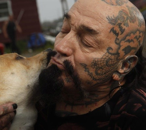 Batso and his dog Inka - Rescue Ink member (Photo Credit: © National Geographic Channel / Shea Roggio) Rescue Ink, a group of eight tough guys covered in tattoos, is coming to the rescue of New York's animals - they save animals from desperate situations, rescue fighting dogs, confront animal abusers, and investigate stolen animals.