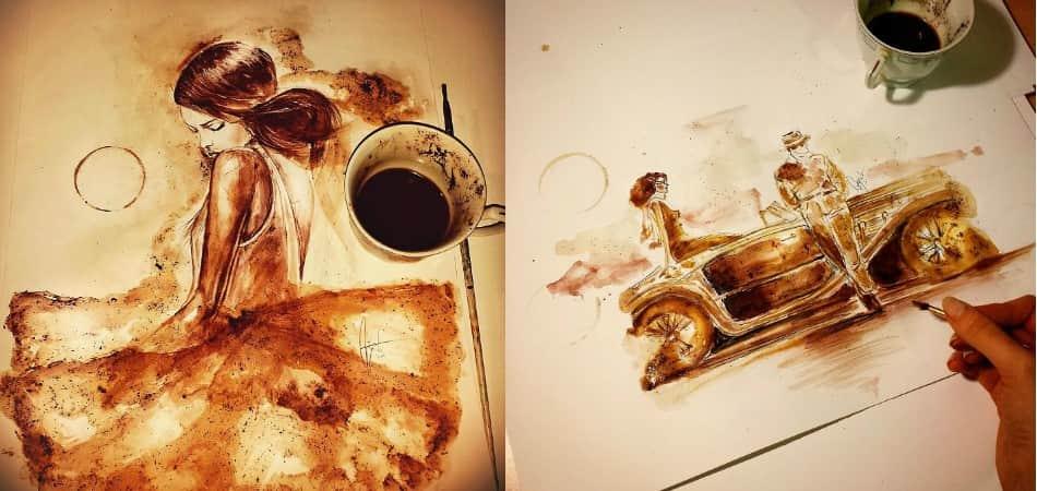 Artista usa café para criar belas obras de arte 1