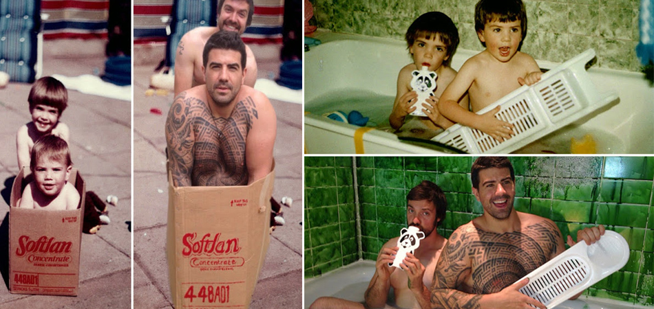 Irmãos recriam fotos tiradas na infância e dão de presente de casamento para os pais 2