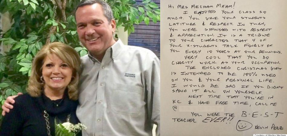 Ex-aluno agradece professora com um cheque de 10 mil dólares 1