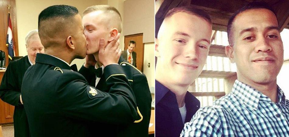 Foto de militares se beijando durante casamento emociona a internet 1