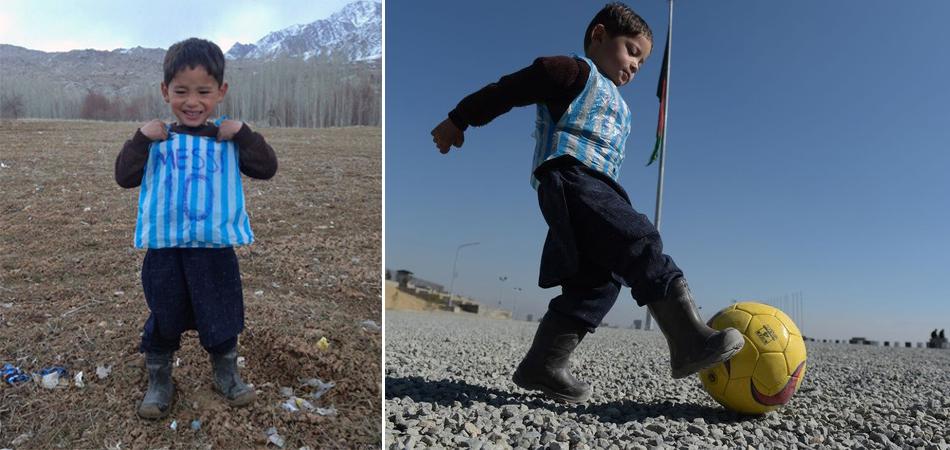 Menino afegão fotografado com camisa de plástico vai encontrar Messi 8