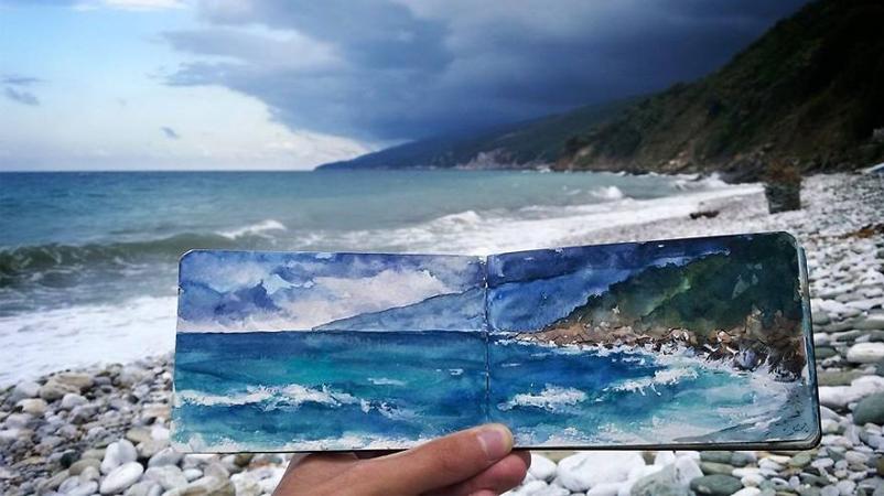 Artista registra suas viagens pelo mundo com pinturas de aquarela 2