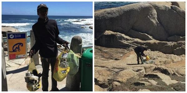Envergonhado, morador de rua limpa praia todos os dias 1