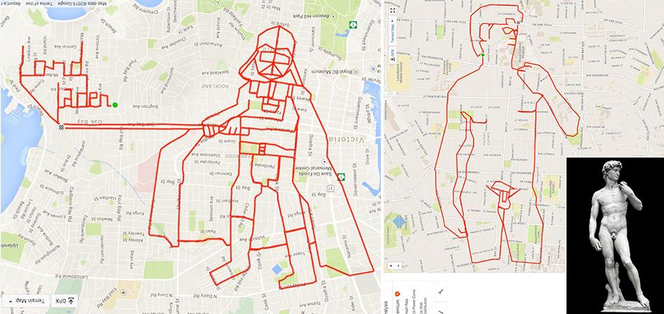 """Homem """"pinta"""" incríveis desenhos pedalando com sua bike e usando um GPS 1"""