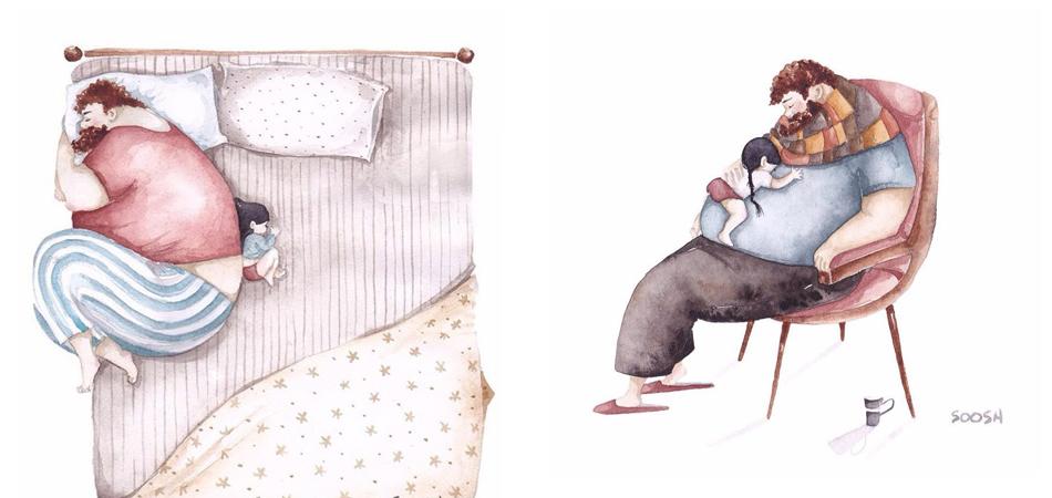 Belíssimas ilustrações mostram o amor de um pai por sua filha pequena 1