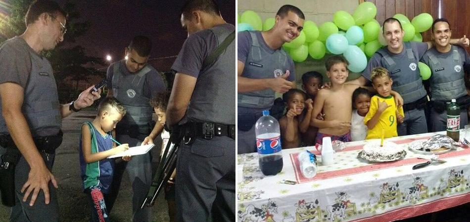 Menino ganha festa de aniversário de policiais que o ajudaram com lição de casa 1