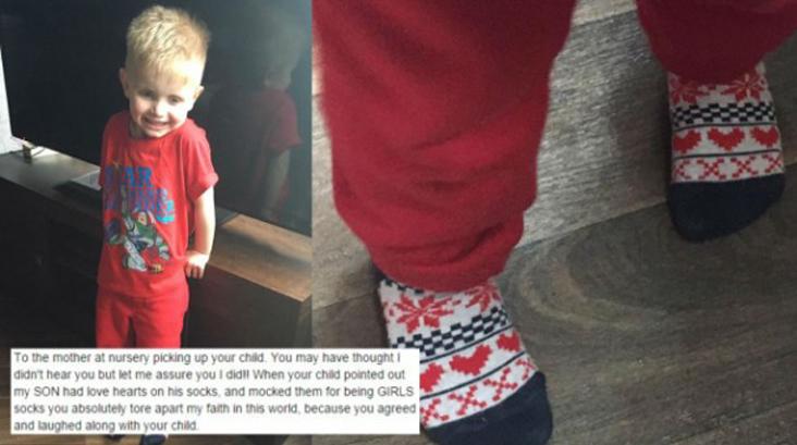 """Mãe defende filho zombado por usar 'meia de menina': """"Esse é meu filho. E eu amo ele"""" 1"""