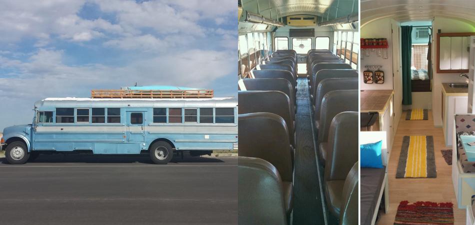 Pai e filho transformam antigo ônibus escolar em casa itinerante movida a energia solar 2