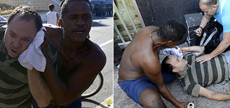 Morador de rua ajuda desconhecidos feridos em protesto no Centro de Vitória 1