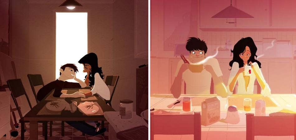 Ilustrações mostram momentos vividos por um casal apaixonado 2