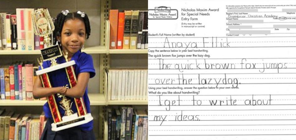 Menina que nasceu sem as mãos ganha concurso de caligrafia 1