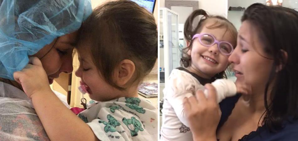 Menininha de 2 anos vê a mãe pela primeira vez depois de corrente do bem para pagar cirurgia 1