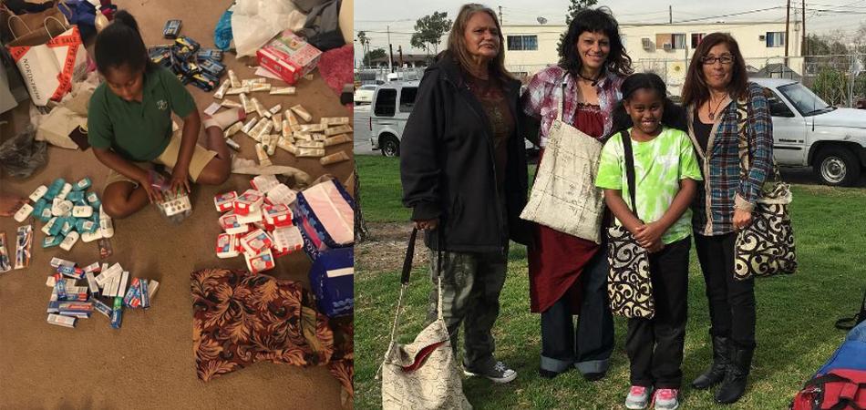 Menina de 9 anos cria bolsas com kit de higiene pessoal e doa a moradores de rua 3