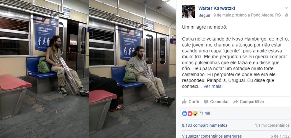 Jovem se solidariza com desconhecido no metrô de Porto Alegre e história viraliza na web 1