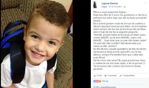 """Menino de 4 anos pergunta para mãe por que as bonecas só falam """"mamãe"""" e história viraliza"""
