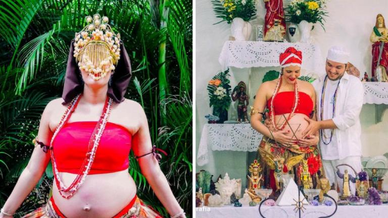 Ensaio em terreiro de Umbanda com pais grávidos celebra o amor pelo bebê e pede respeito 1