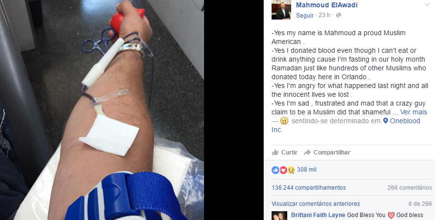 Muçulmano que doou sangue para vítimas da tragédia em Orlando manda mensagem contra o ódio 9