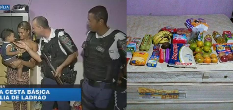 Policiais dão cesta básica para família de homem que roubou para alimentar o filho 1