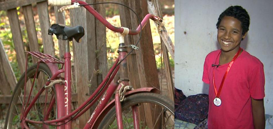 Menino conquista 2º lugar em competição de bike com bicicleta velha do amigo 1