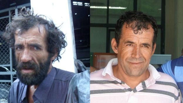 Claudiocir quando morava na rua (à esq.) e quando voltou para a sua família. Foto: Arquivo Pessoal