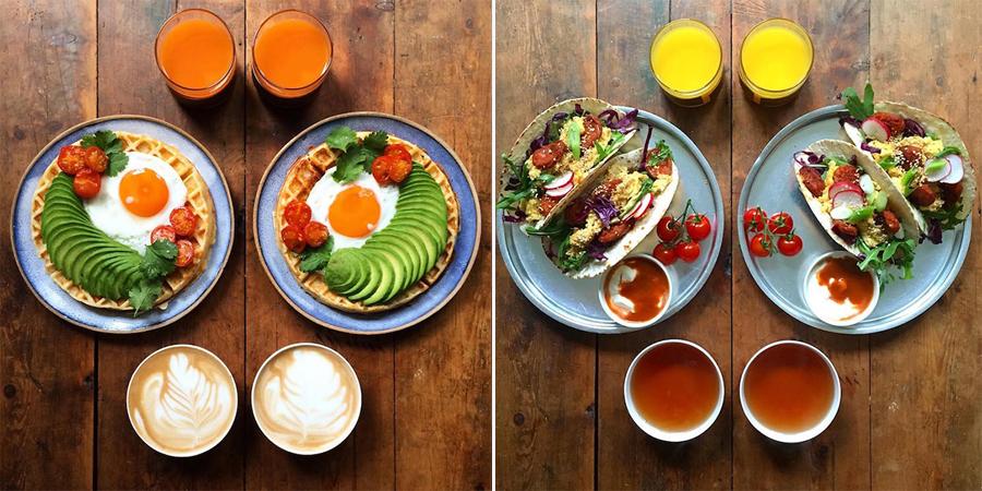 Homem prepara café da manhã simétrico para ele e o namorado todos os dias 2
