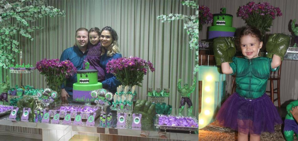 """Pais atendem pedido e menina ganha festa de aniversário inspirada no """"Hulk"""" 1"""