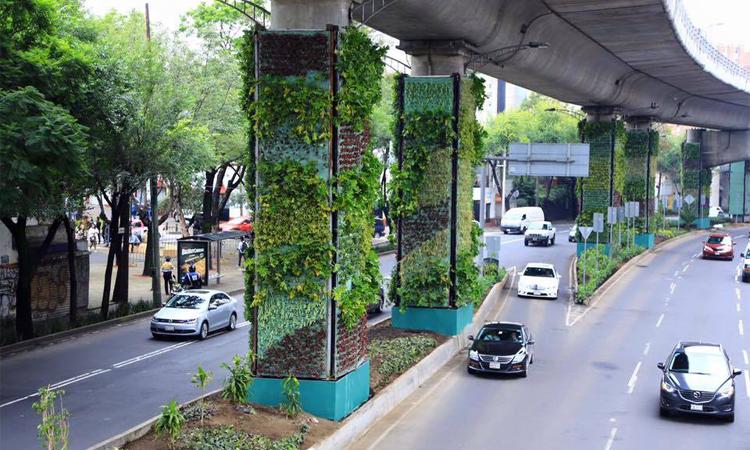 Cidade do México cobre colunas de viaduto com jardins verticais 3