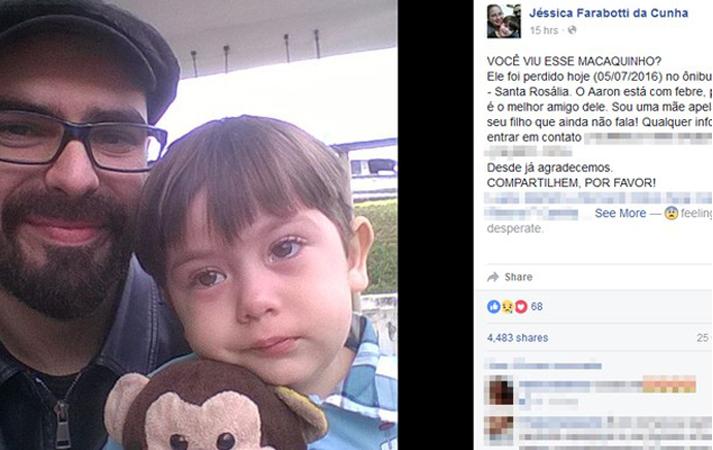 Garotinho de dois anos perde macaquinho de pelúcia e resgate mobiliza a internet 1
