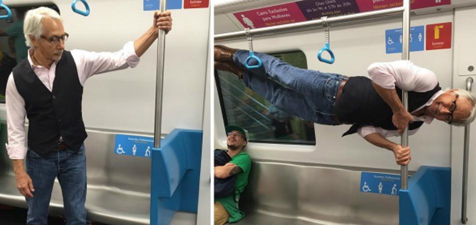 Ao cederem lugar no metrô do Rio, turista idoso surpreende com reação 1