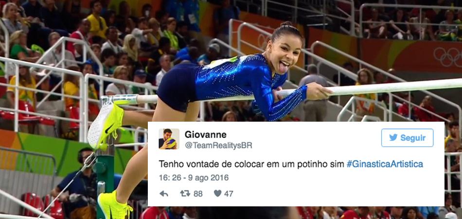 Todos nós estamos apaixonados pela ginasta Flávia Saraiva nas Olimpíadas 1