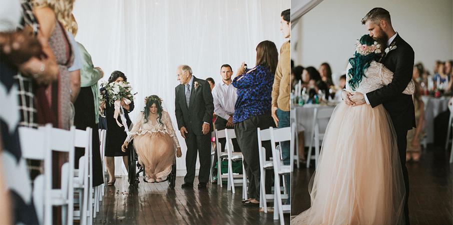 Noiva com paralisia surpreende noivo e convidados ao caminhar até o altar no seu casamento 1