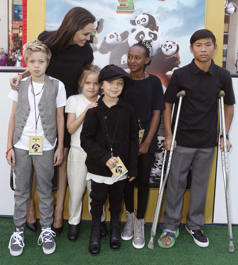 Shiloh Nouvel Jolie-Pitt, Angelina Jolie, Vivienne Marcheline Jolie-Pitt, Knox Leon Jolie-Pitt, Zahara Marley Jolie-Pitt and Pax Thien Jolie-Pitt seen at DreamWorks Animation and Twentieth Century Fox World Premiere of 'Kung Fu Panda 3' at TCL Chinese Theater on Saturday, Jan. 16, 2016, in Hollywood, CA. (Photo by Eric Charbonneau/Invision for Twentieth Century Fox/AP Images)