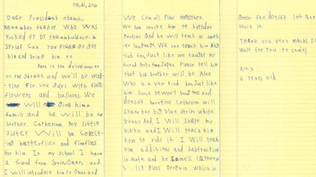 Carta escrita por Alex/Foto: Casa Branca