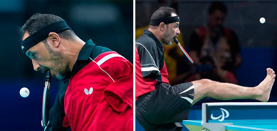 Egípcio impressiona o mundo ao jogar tênis de mesa com a boca nas Paralimpíadas 4