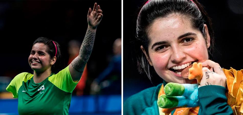 Com a medalha de bronze, Bruna Alexandre é a 1ª mulher brasileira a subir no pódio pelo tênis de mesa 1
