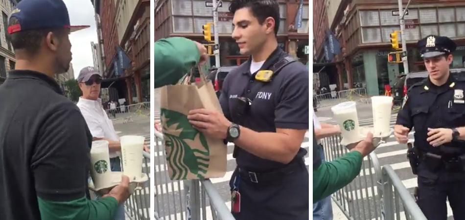 Funcionário do Starbucks leva café e comida à policiais que trabalhavam na área do atentado em NY 1