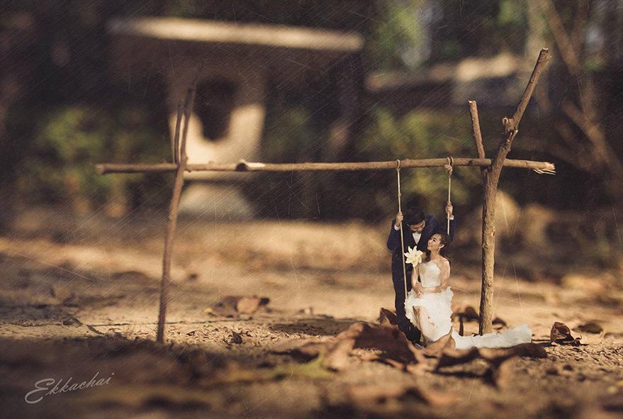 Fotógrafo de casamento transforma casais felizes em miniaturas encantadoras 2