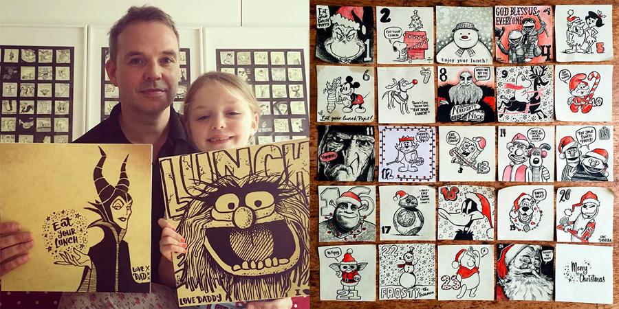 Pai esconde desenhos na lancheira da filha para lembrá-la de comer na escola 2