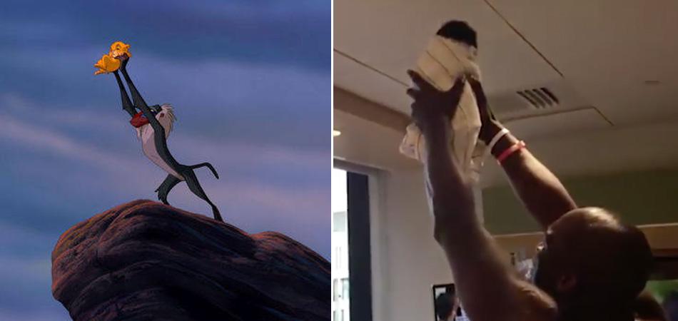 """Pai recria cena de """"O Rei Leão"""" com filho recém-nascido no hospital 1"""
