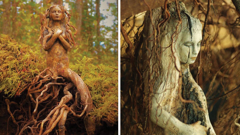 Artista transforma troncos de árvore em fantásticas esculturas que parecem espíritos da natureza 4
