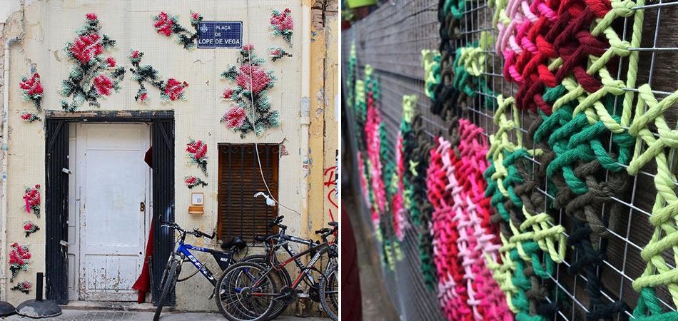 Artista faz instalações de bordados gigantes em Madri para levar mais cor ao cotidiano 2