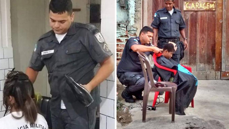 Policial cabeleireiro fez cortes de graça para moradores de comunidade no Rio 1