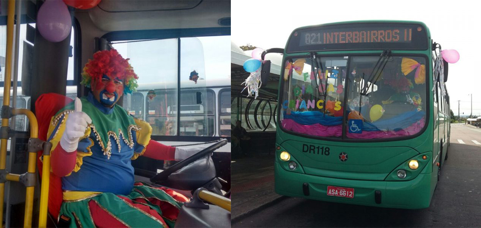 Motorista decora ônibus, veste-se de palhaço e distribui doces para passageiros 1