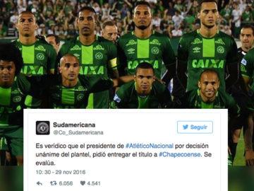 Atlético Nacional pede para Conmebol declarar Chapecoense campeã da Copa Sul-Americana 5