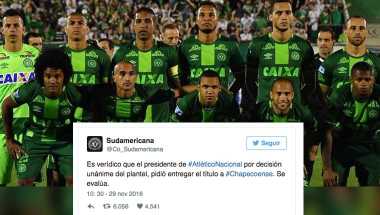 Atlético Nacional pede para Conmebol declarar Chapecoense campeã da Copa Sul-Americana 3