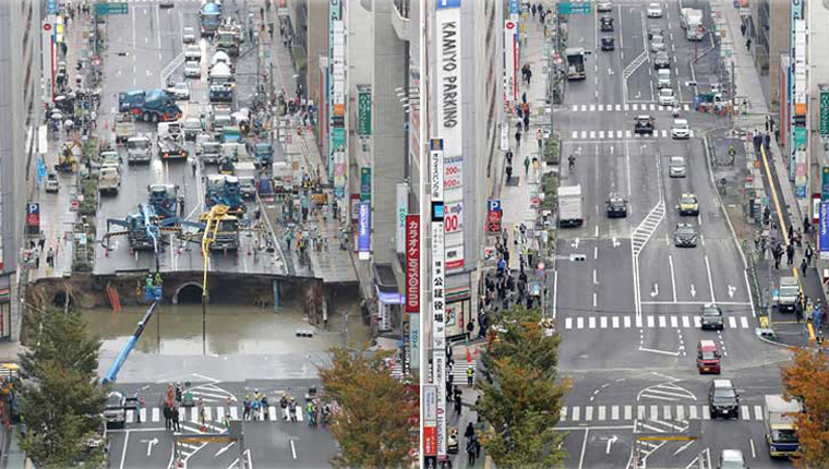 Japão tapa buraco gigante em avenida em apenas 48 horas 3